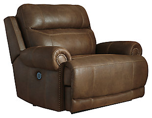 Austere Oversized Power Recliner, Brown, large