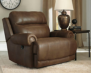 Austere Oversized Recliner, Brown, large