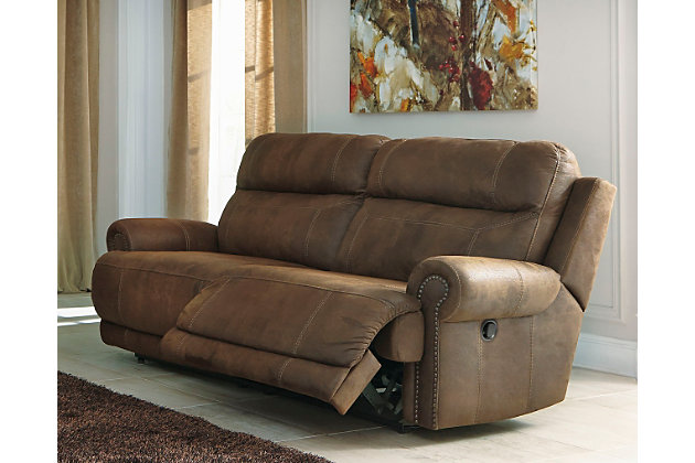 Austere Reclining Sofa Brown Large