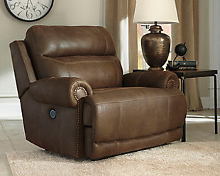 Austere Oversized Power Recliner, Brown, rollover