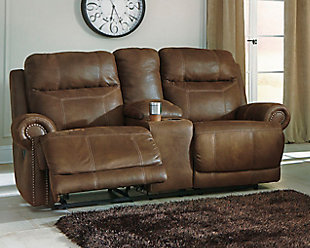 Austere Reclining Loveseat with Console, Brown, rollover