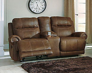 Austere Power Reclining Loveseat with Console, Brown, rollover