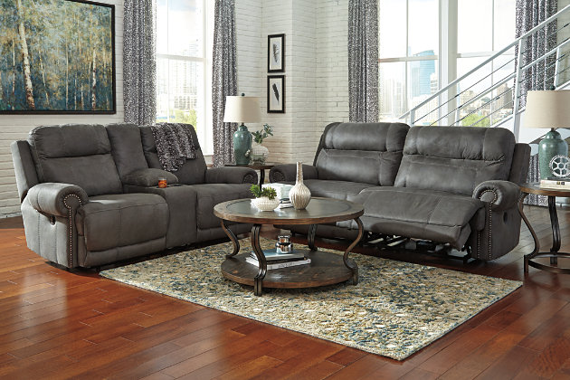 grey leather reclining sofa and loveseat with power options & Austere Reclining Loveseat with Console | Ashley Furniture HomeStore islam-shia.org