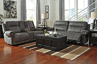 Austere Reclining Sofa, Gray, large