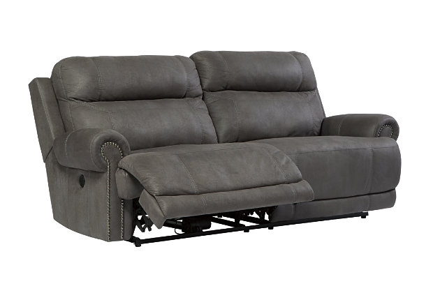 Austere Reclining Loveseat with Console by Ashley HomeStore, Gray, Polyester/Polypurethane