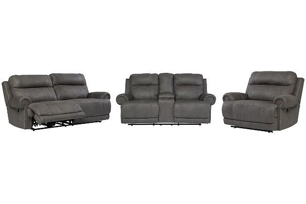 Austere Sofa, Loveseat and Recliner, Gray, large