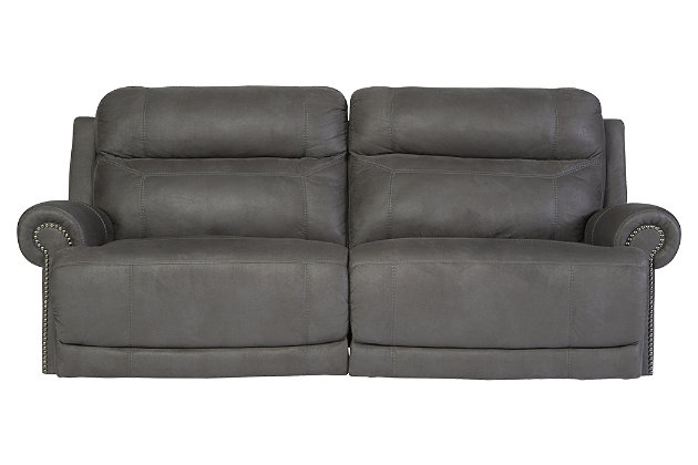 Austere Reclining Sofa by Ashley HomeStore, Gray, Polyester/Polypurethane