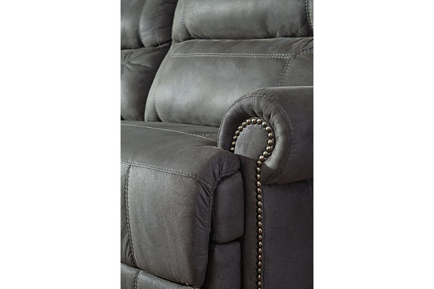 Austere Power Reclining Sofa, Gray, large