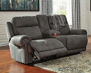 Austere Reclining Loveseat with Console, Gray, large
