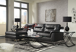 Tensas 2-Piece Sectional with Chaise, Black, rollover