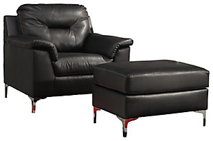 Tensas Chair and Ottoman, Black, large
