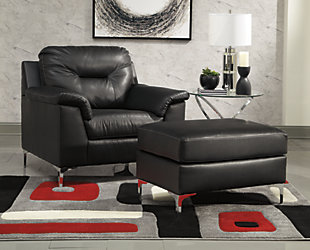 Tensas Chair and Ottoman, Black, rollover