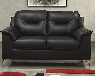 Tensas Loveseat, Black, rollover