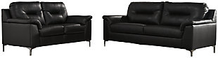 Tensas Sofa and Loveseat, Black, large