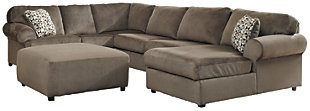 Jessa Place 3-Piece Sectional with Ottoman, Dune, large