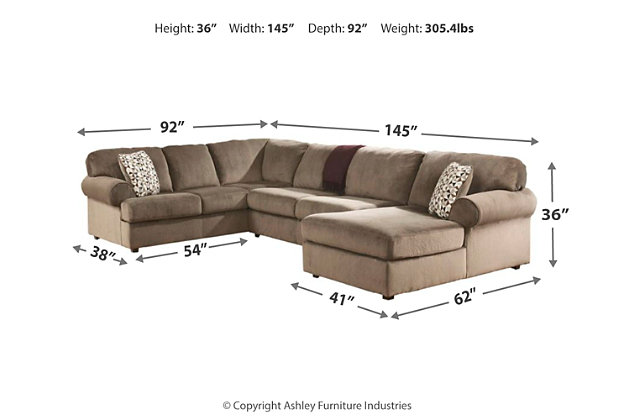 Excellent Jessa Place 3 Piece Sectional With Chaise Ashley Furniture Spiritservingveterans Wood Chair Design Ideas Spiritservingveteransorg