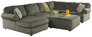 Jessa Place 3-Piece Sectional with Ottoman, Pewter, large