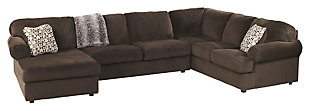 Jessa Place 3-Piece Sectional with Chaise, Chocolate, large