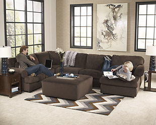Jessa Place 3-Piece Sectional with Ottoman, Chocolate, large
