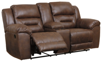 Stoneland Reclining Loveseat with Console, Chocolate, large