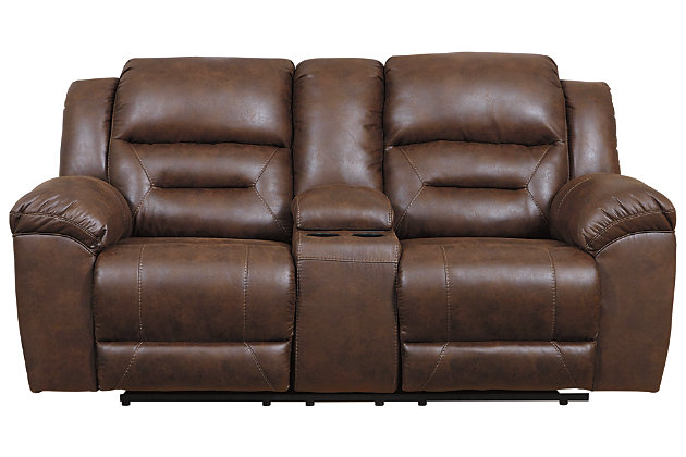 Stoneland Power Reclining Loveseat with Console, Chocolate, large