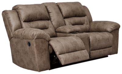 Stoneland Reclining Loveseat with Console, Fossil, large