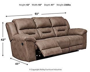 Stoneland Reclining Sofa, Fossil, large