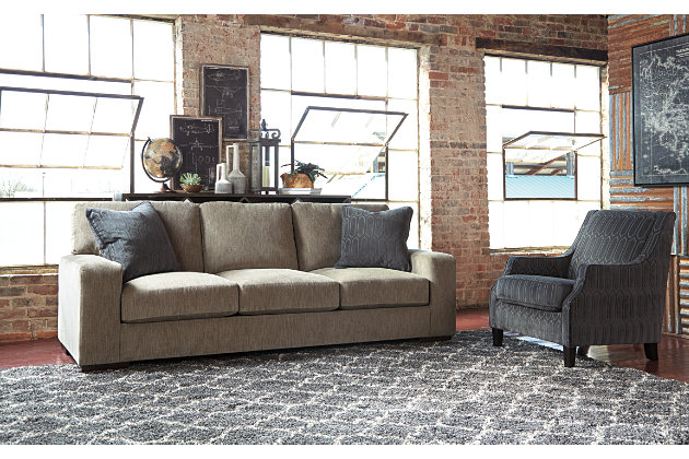 Clean Lines Define the Entwine Collection Smoke Gray Couch with Graphite Gray Accent Chair