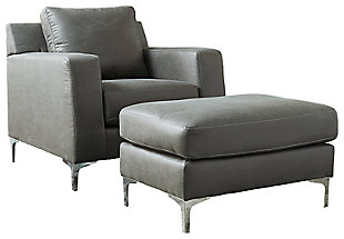 Ryler Chair and Ottoman, Charcoal, large
