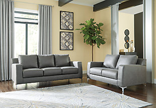 Ryler Sofa and Loveseat, Gray, rollover