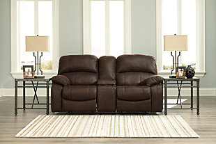 Zavier Power Glider Reclining Loveseat with Console, Truffle, large