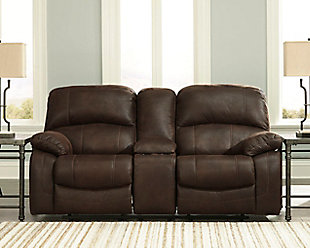Zavier Power Glider Reclining Loveseat with Console, Truffle, rollover
