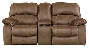 Zavier Glider Reclining Loveseat with Console, Saddle, large