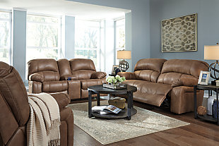 Zavier Power Glider Reclining Loveseat with Console, Saddle, large