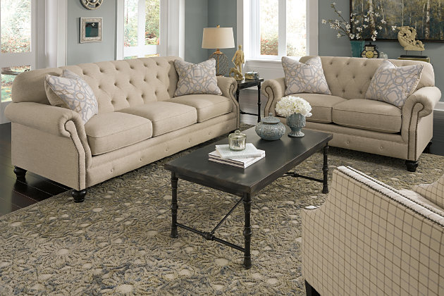 Charming Textured Twill Natural Hues Living Room Furniture Set With  Traditional Style Detailed Nailhead And Diamond