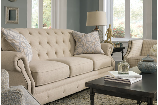 Detailed Diamond Tufted Back Vintage Charm Of The Natural Hued Cream Couches  From The Kieran Collection