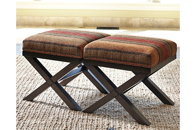 Fiera Ottoman (Set of 2) by Ashley HomeStore, Red, Polyester (100 %)