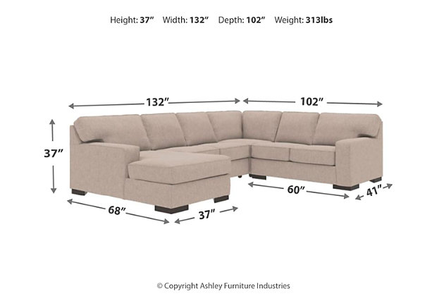 Ashlor Nuvella® 4-Piece Sectional with Chaise, , large