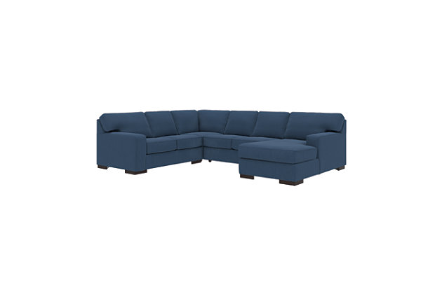 Ashlor Nuvella® 4-Piece Sectional with Chaise, Indigo, large