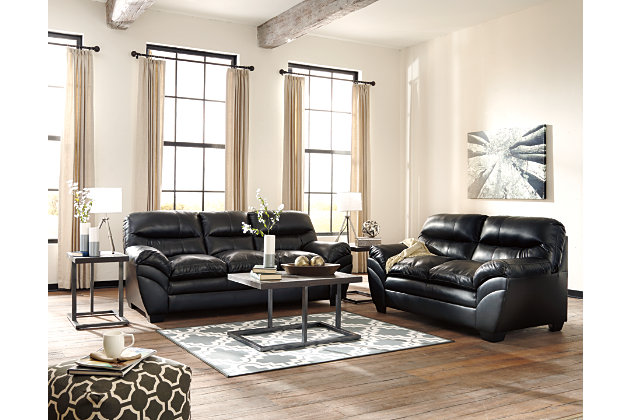 Tassler Loveseat, Black, large