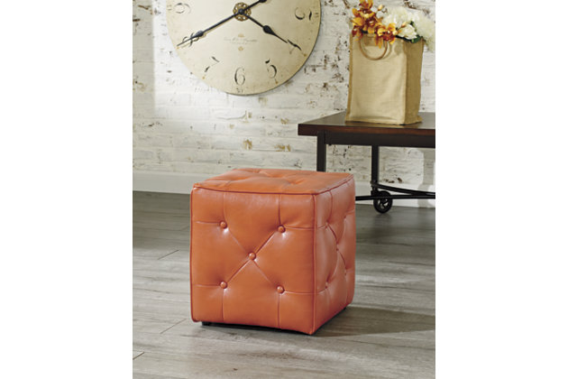 Orange Jive Ottoman by Ashley HomeStore, Cotton/Polyester/Polypurethane
