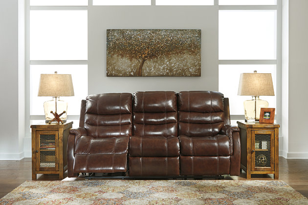 Mineola Power Reclining Sofa by Ashley HomeStore, Brown, Leather (100 %)