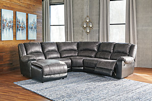 Nantahala 5-Piece Reclining Sectional with Chaise, Slate, rollover