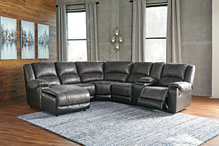 Nantahala 6-Piece Reclining Sectional with Chaise, Slate, rollover