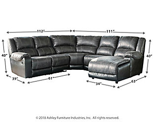 Nantahala 5-Piece Reclining Sectional with Chaise, Slate, large