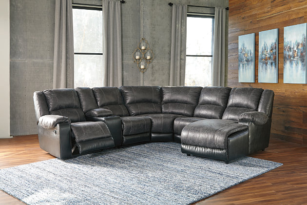 Nantahala 6-Piece Reclining Sectional with Chaise, Slate, large