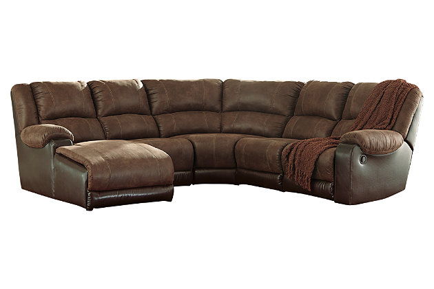 Nantahala 5-Piece Reclining Sectional with Chaise, Coffee, large