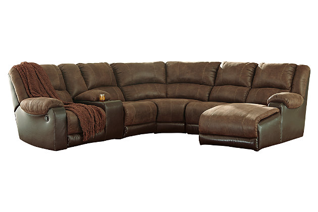 Nantahala 6-Piece Reclining Sectional with Chaise, Coffee, large