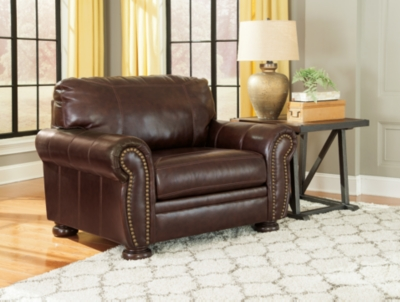 Ashley Banner Oversized Chair, Coffee Leather