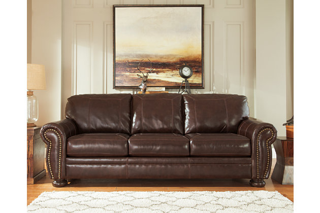 Ashley leather living room furniture Bonded Leather Banner Sofa Large Ashley Furniture Homestore Banner Sofa Ashley Furniture Homestore